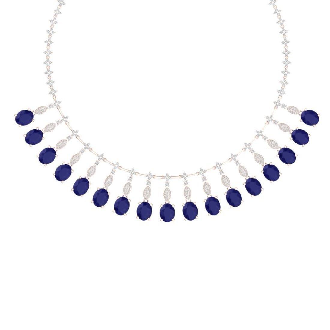 65.62 CTW Royalty Sapphire & VS Diamond Necklace 18K - 2