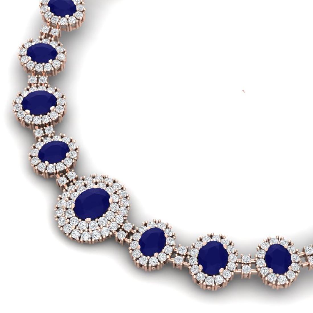 45.69 CTW Royalty Sapphire & VS Diamond Necklace 18K - 2