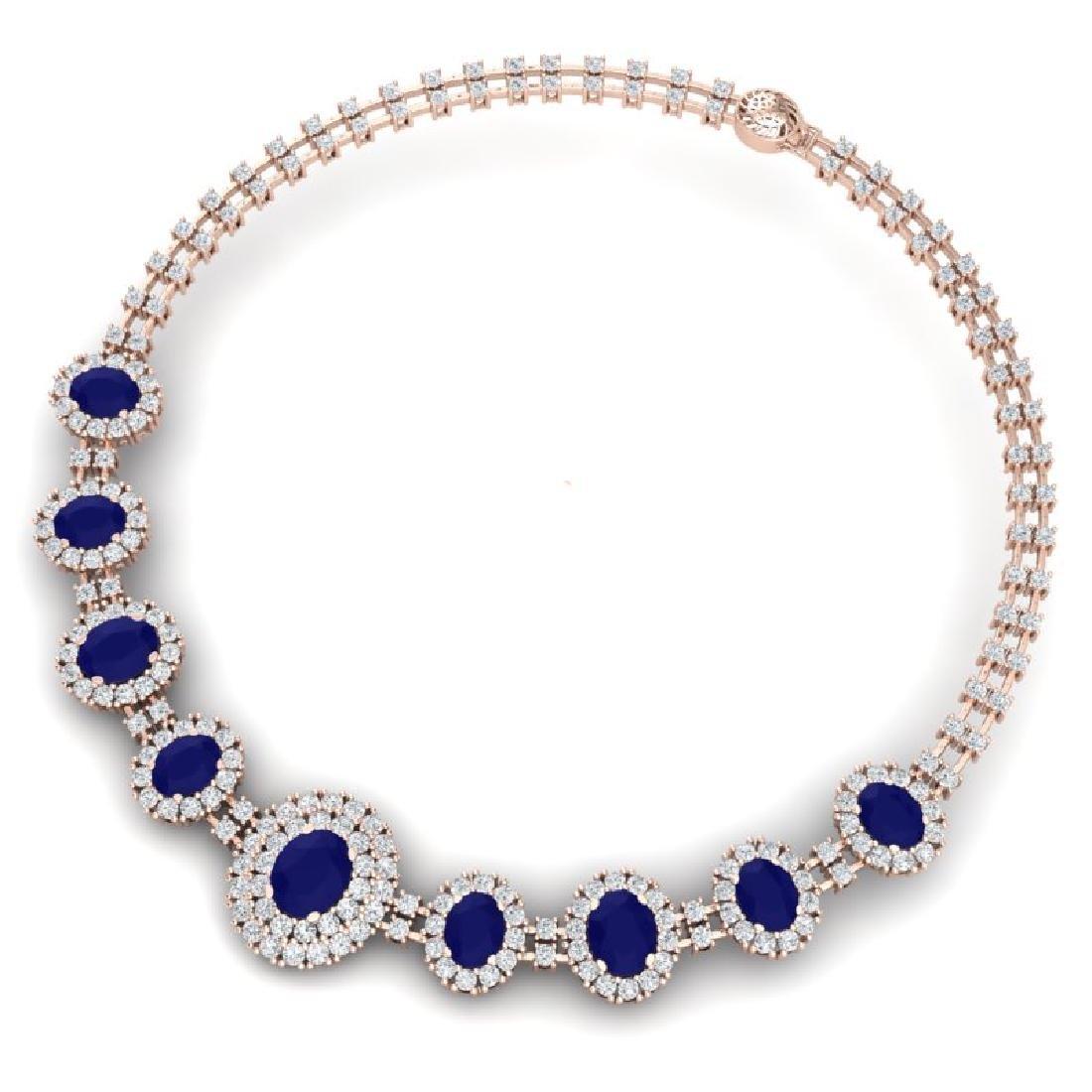 45.69 CTW Royalty Sapphire & VS Diamond Necklace 18K - 3