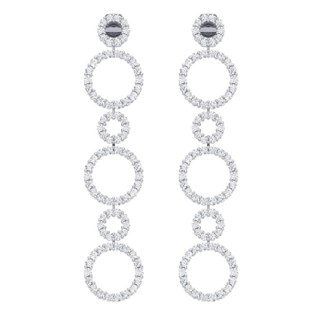 1.50 CTW Certified SI/I Diamond Halo Earrings 18K White - 2