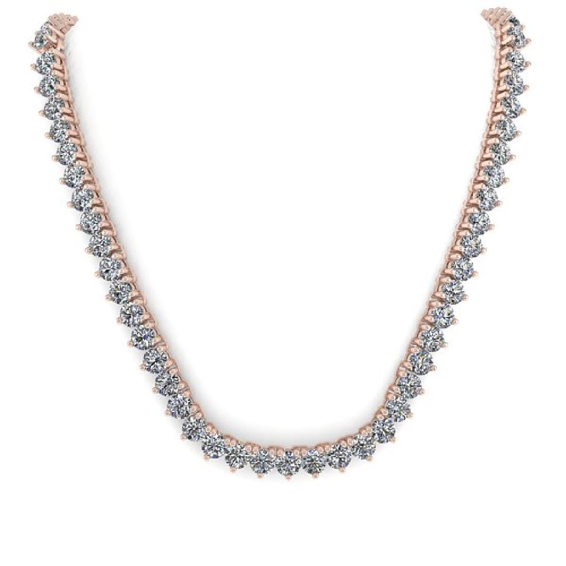 68 CTW Solitaire Certified SI Diamond Necklace 14K Rose - 3