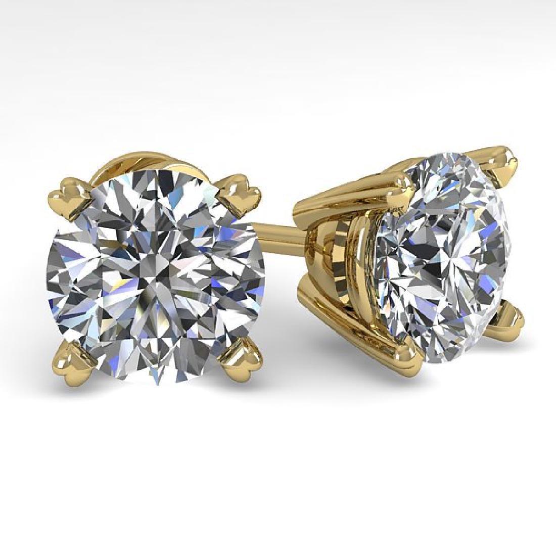 4 CTW Certified VS/SI Diamond Stud Earrings 14K Yellow