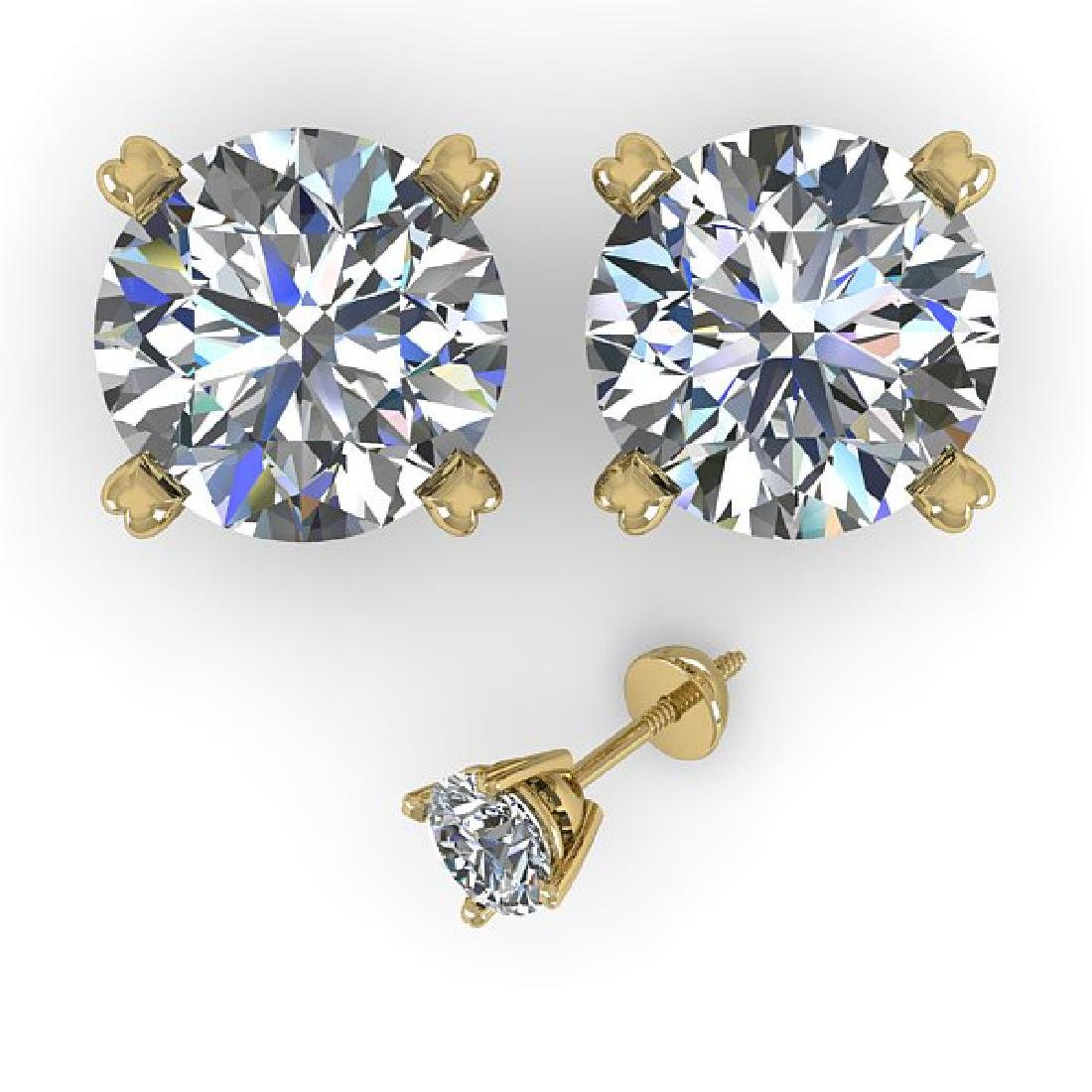 4 CTW Certified VS/SI Diamond Stud Earrings 14K Yellow - 2