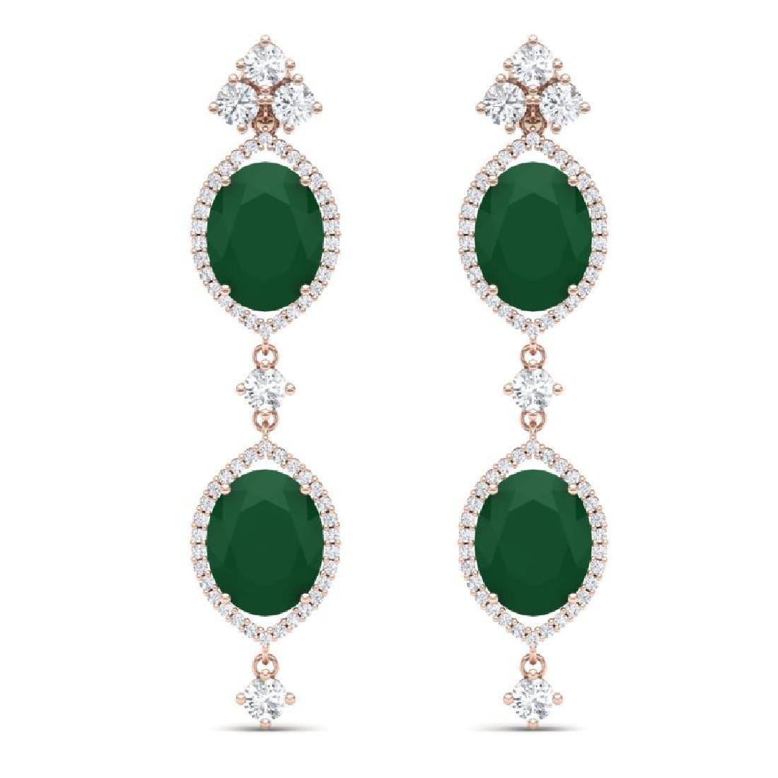 15.81 CTW Royalty Emerald & VS Diamond Earrings 18K