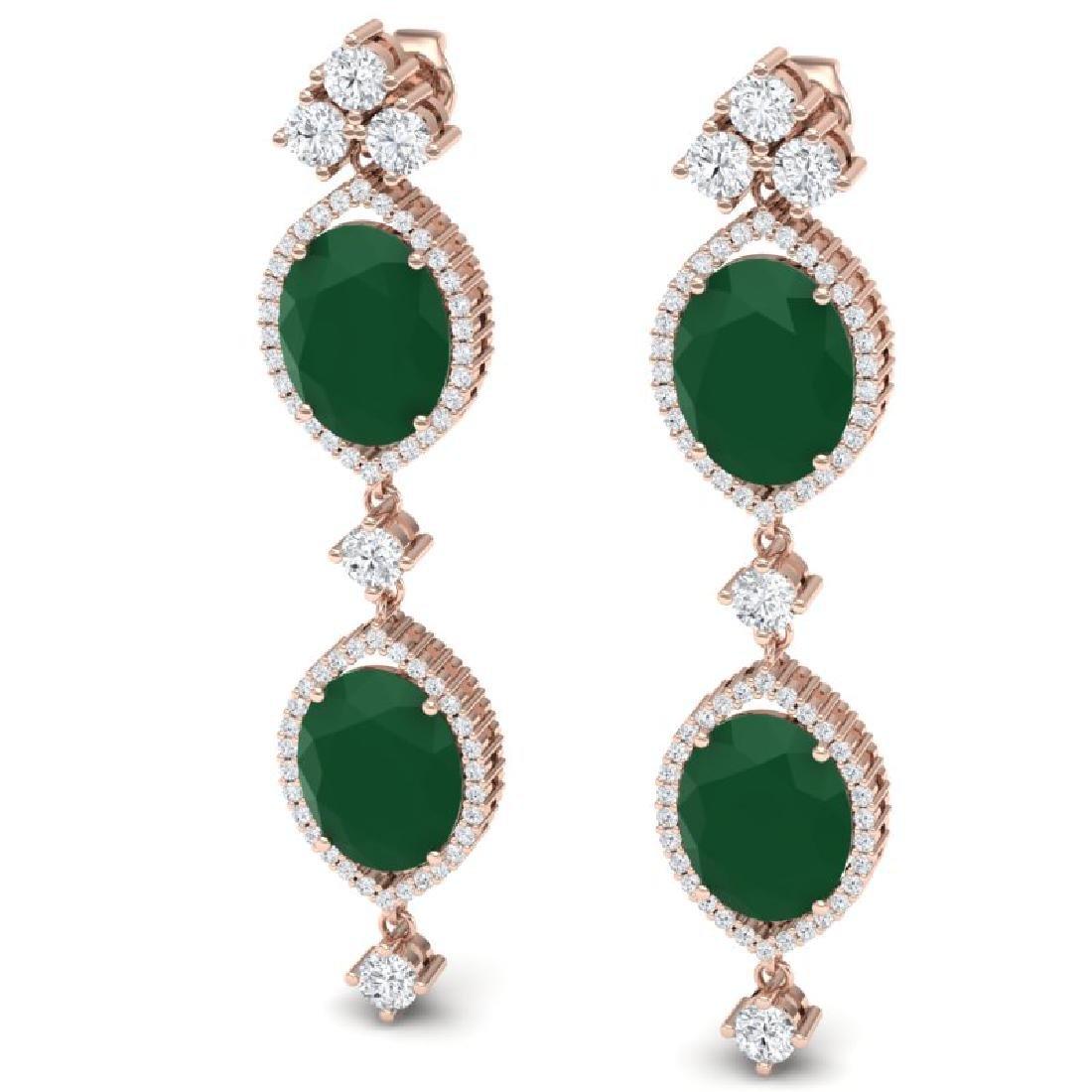 15.81 CTW Royalty Emerald & VS Diamond Earrings 18K - 2