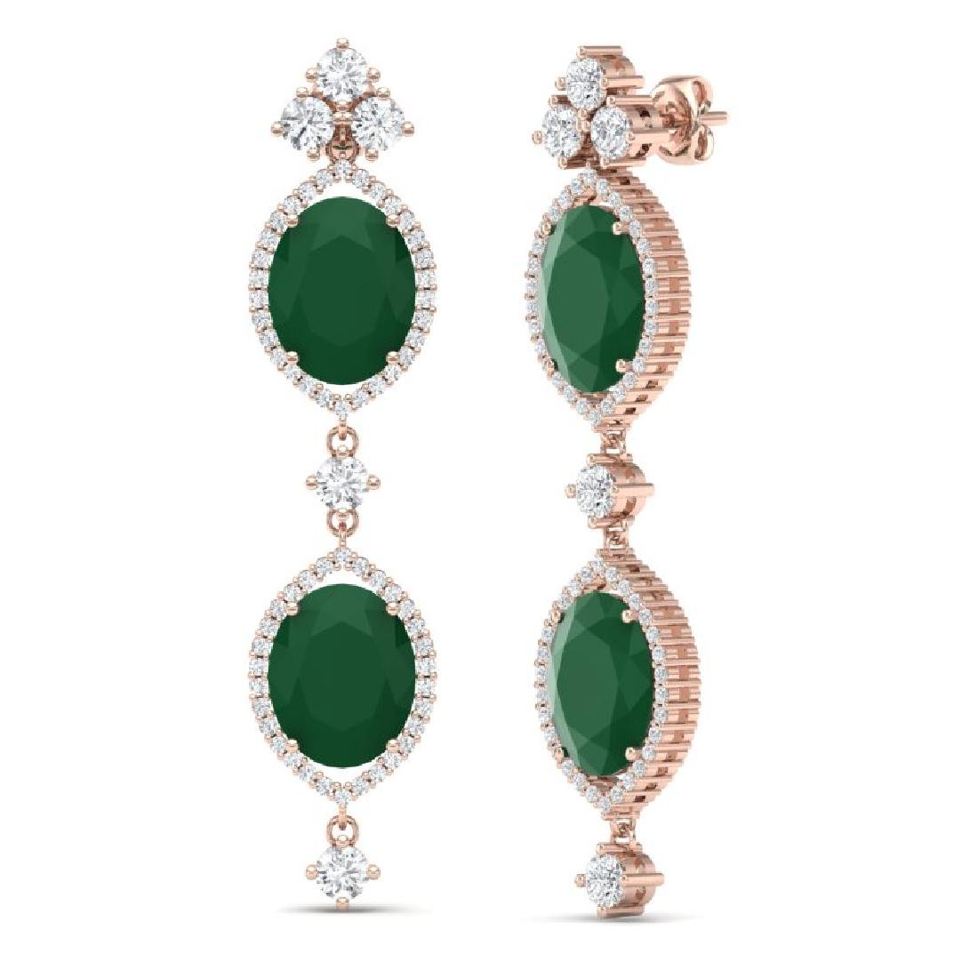 15.81 CTW Royalty Emerald & VS Diamond Earrings 18K - 3