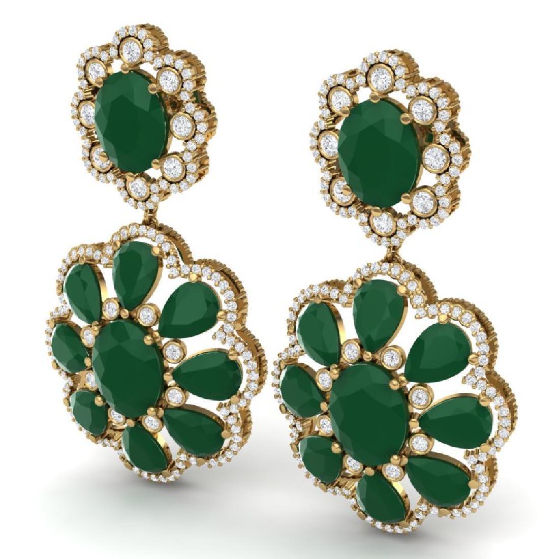 33.88 CTW Royalty Emerald & VS Diamond Earrings 18K - 2