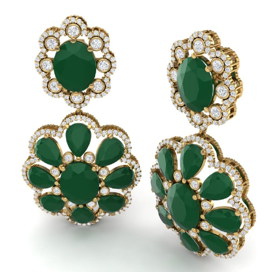 33.88 CTW Royalty Emerald & VS Diamond Earrings 18K - 3