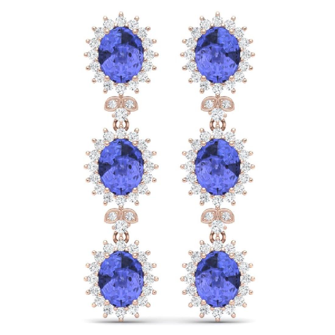 25.36 CTW Royalty Tanzanite & VS Diamond Earrings 18K