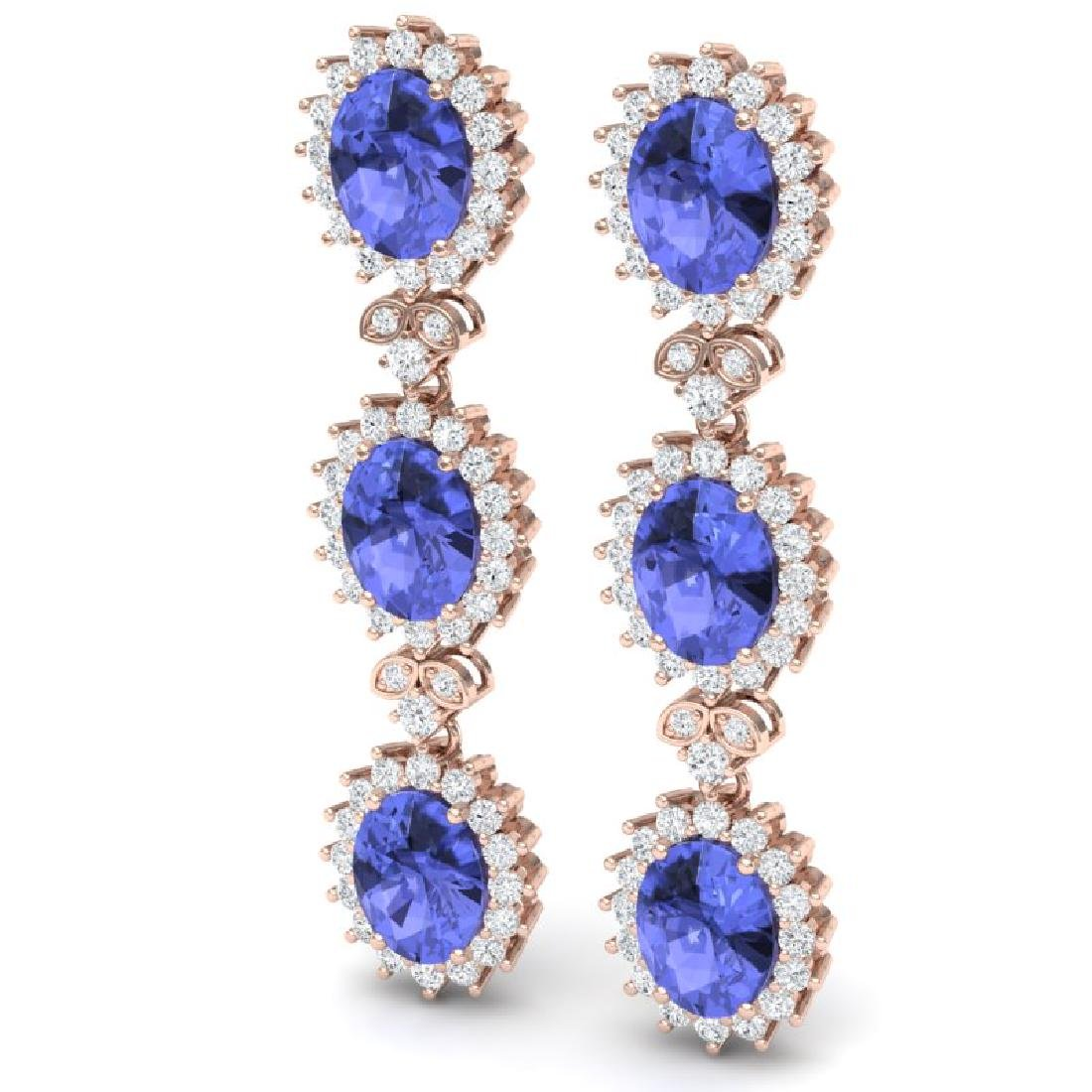 25.36 CTW Royalty Tanzanite & VS Diamond Earrings 18K - 2