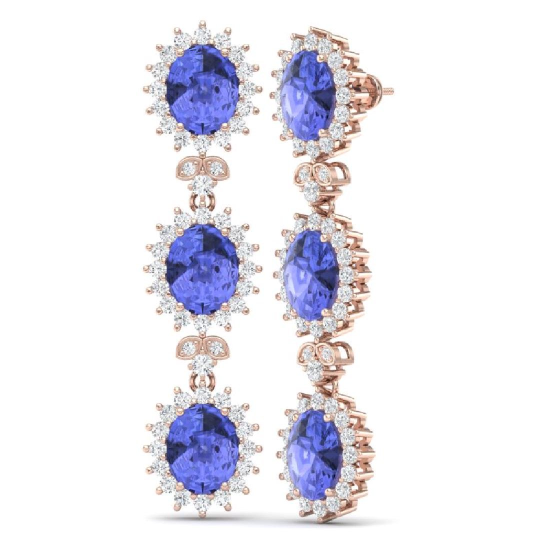 25.36 CTW Royalty Tanzanite & VS Diamond Earrings 18K - 3