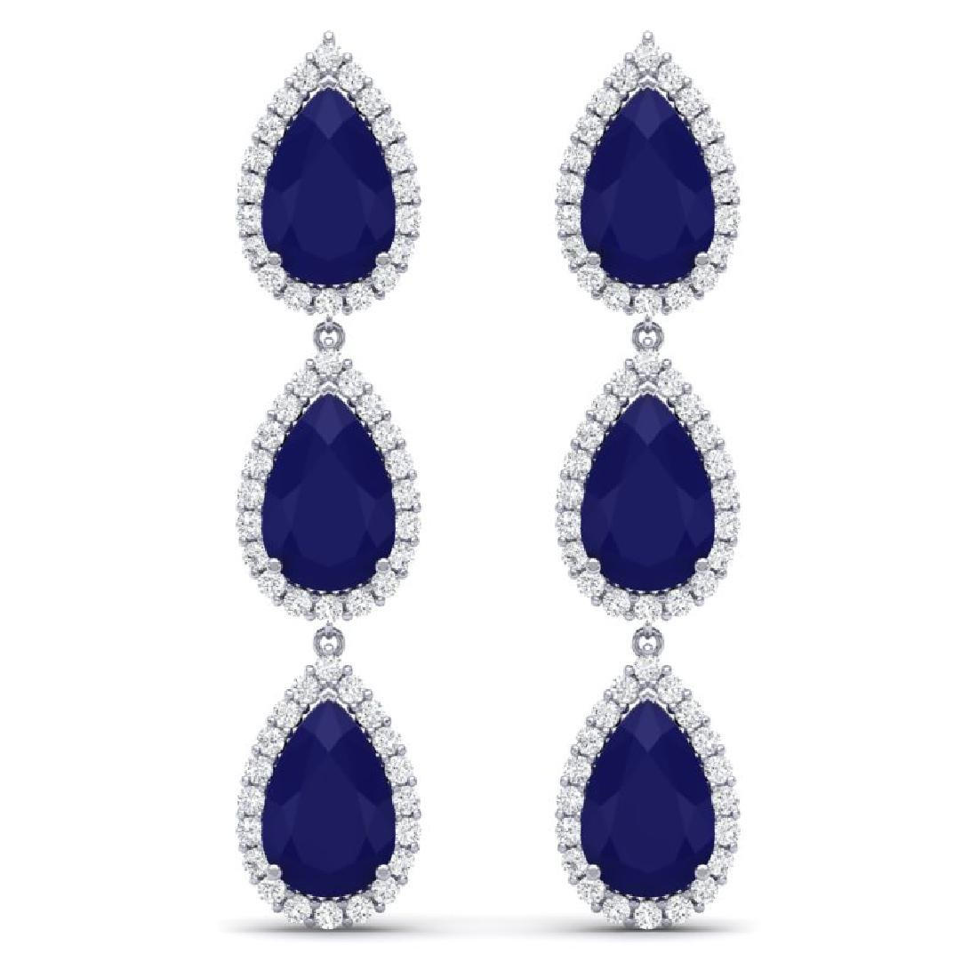 27.06 CTW Royalty Sapphire & VS Diamond Earrings 18K