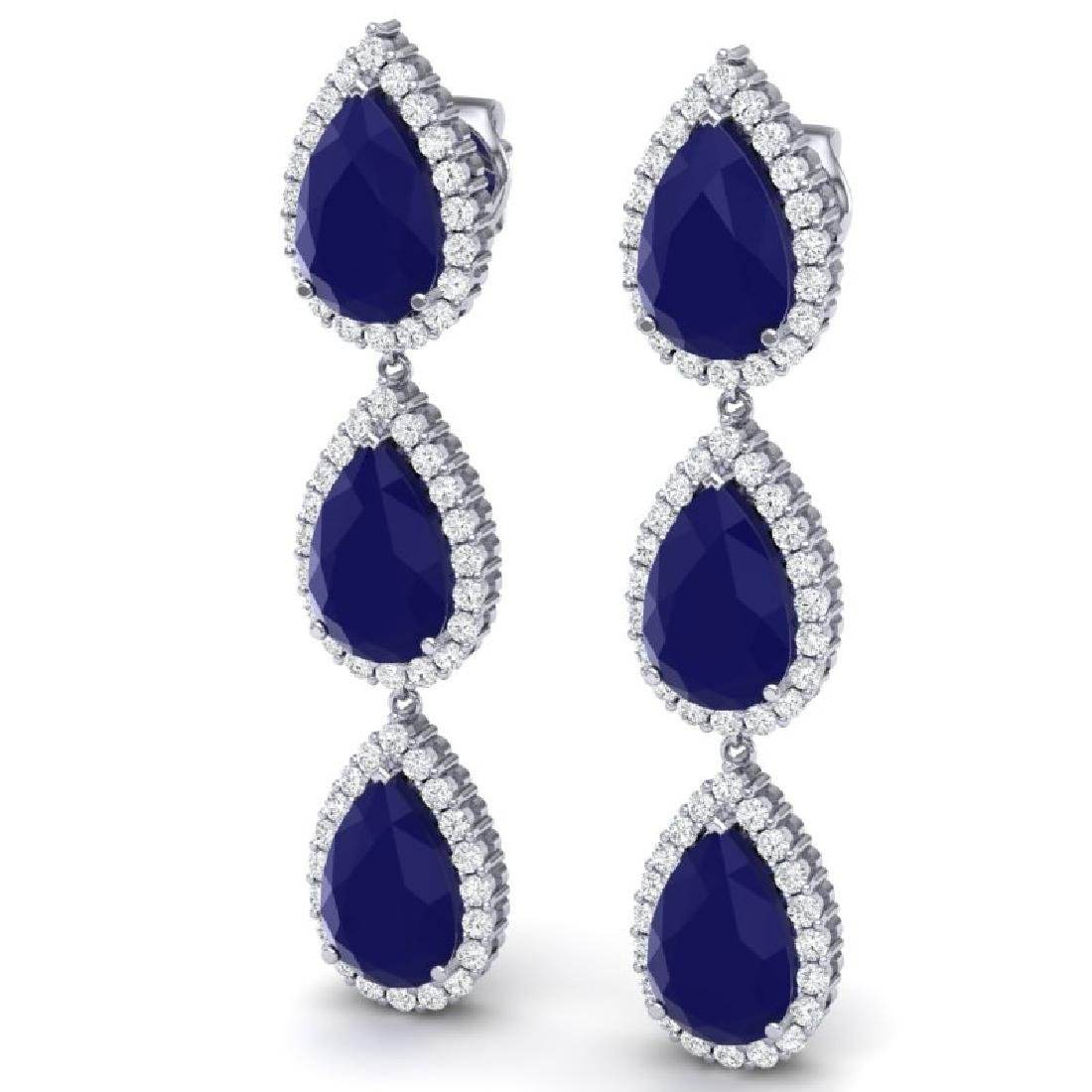 27.06 CTW Royalty Sapphire & VS Diamond Earrings 18K - 2