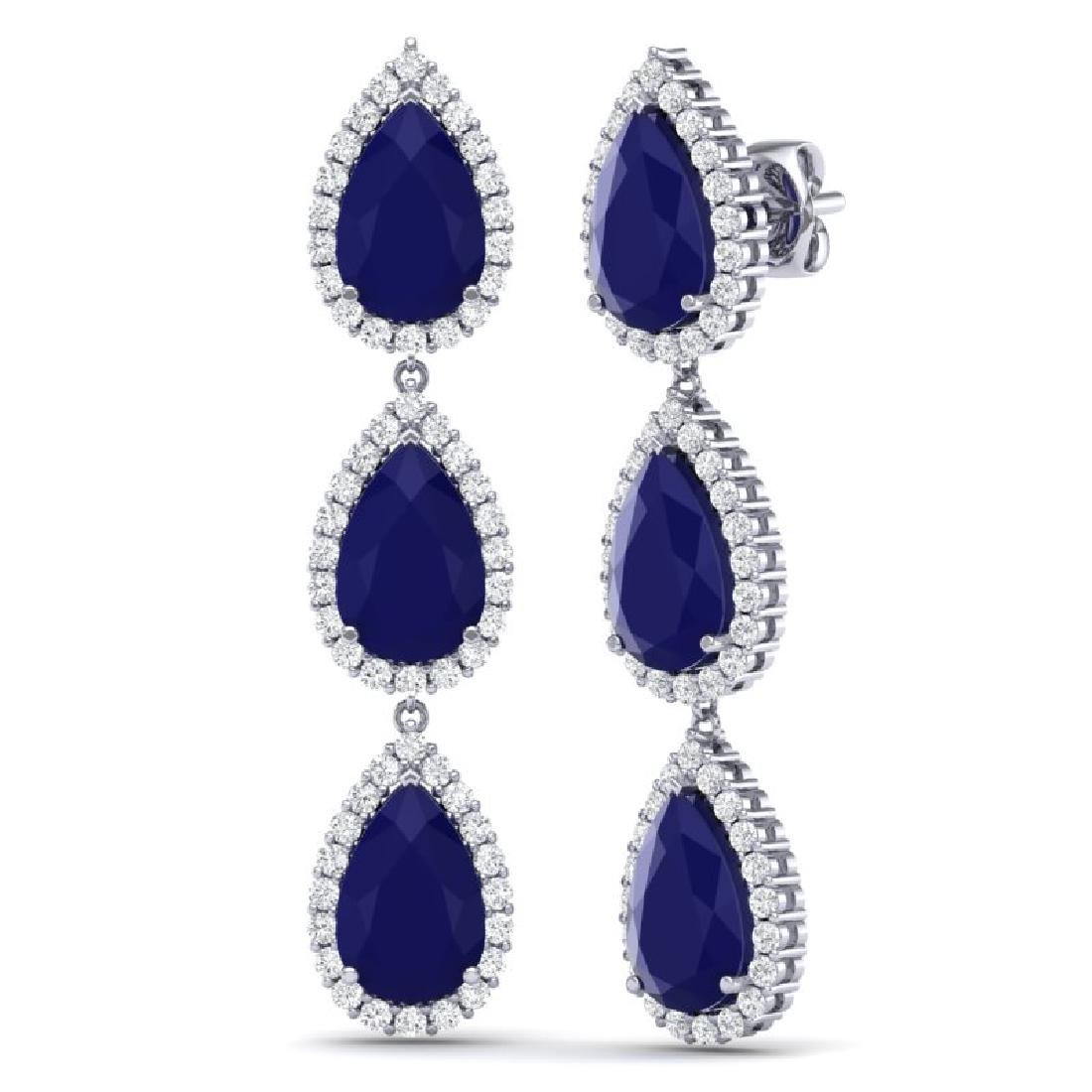 27.06 CTW Royalty Sapphire & VS Diamond Earrings 18K - 3