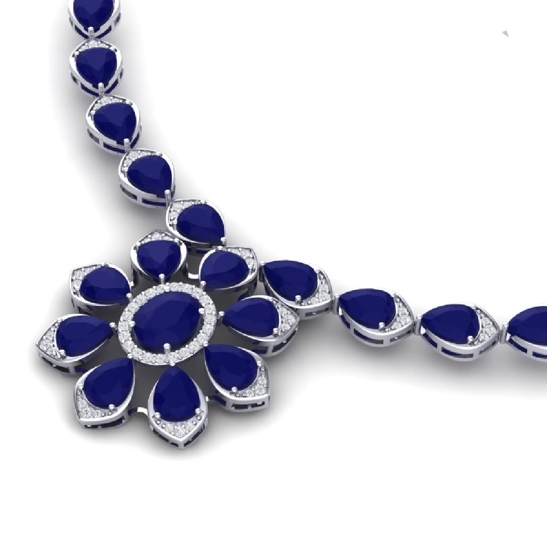 30.70 CTW Royalty Sapphire & VS Diamond Necklace 18K - 2