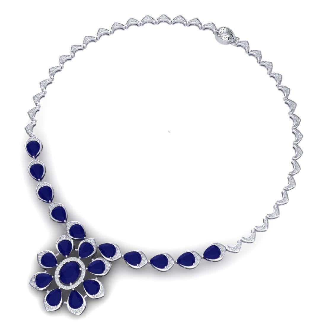 30.70 CTW Royalty Sapphire & VS Diamond Necklace 18K - 3