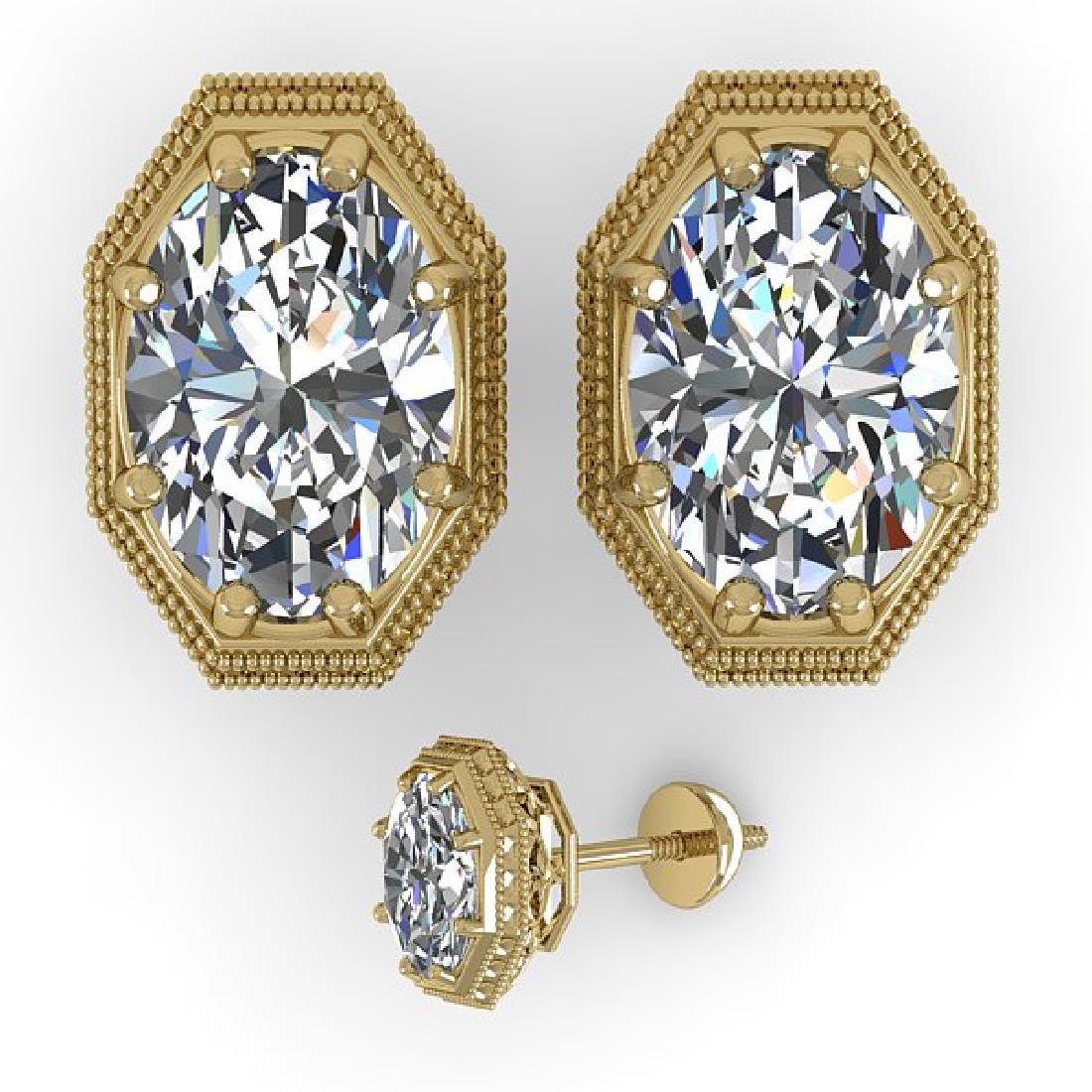 2 CTW VS/SI Oval Cut Diamond Stud Earrings 18K Yellow - 2