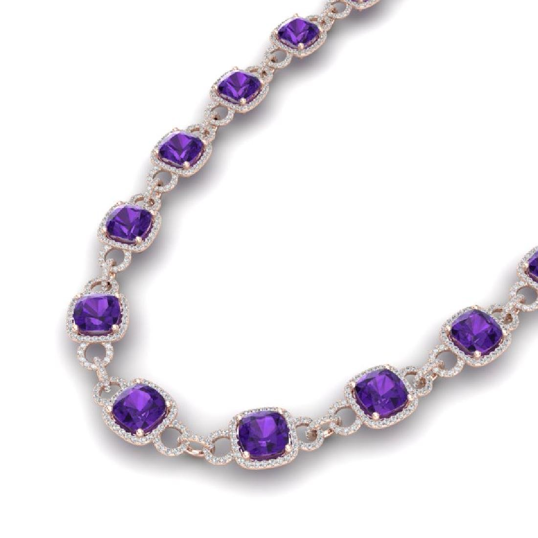 66 CTW Amethyst & VS/SI Diamond Necklace 14K Rose Gold
