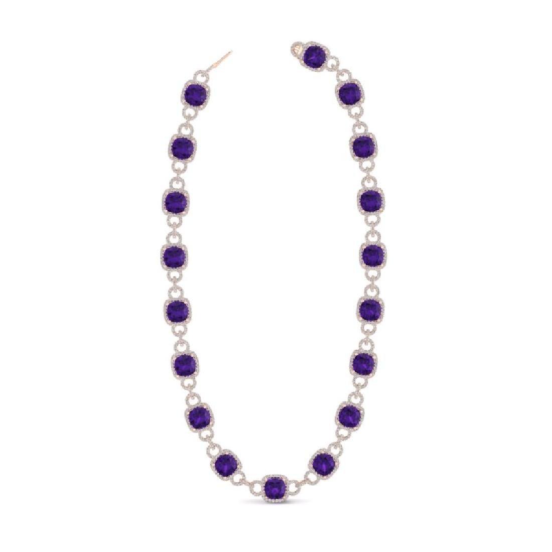 66 CTW Amethyst & VS/SI Diamond Necklace 14K Rose Gold - 2