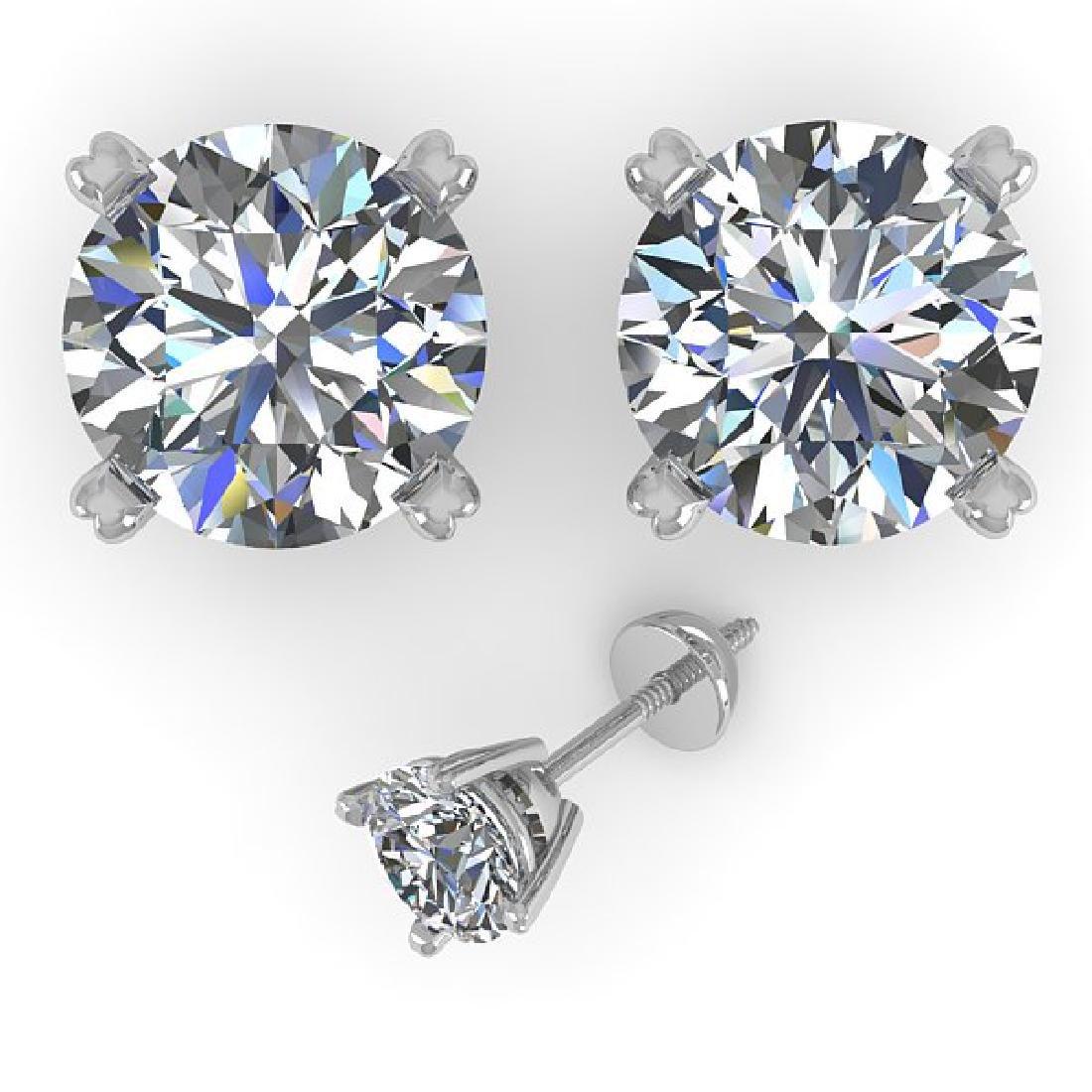 2.50 CTW Certified VS/SI Diamond Stud Earrings 18K - 2