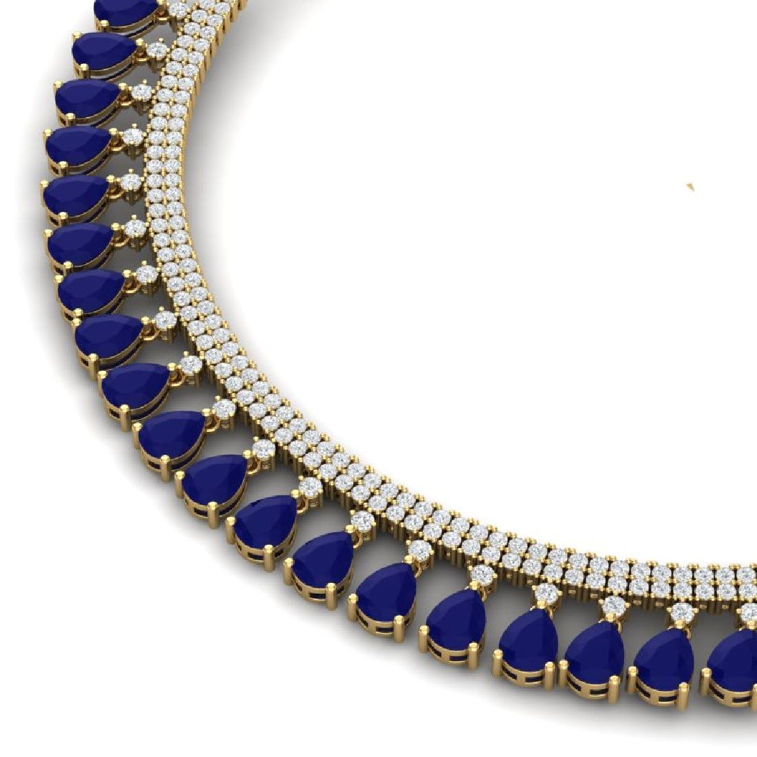 51.75 CTW Royalty Sapphire & VS Diamond Necklace 18K - 2