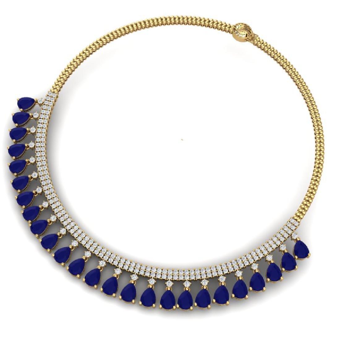 51.75 CTW Royalty Sapphire & VS Diamond Necklace 18K - 3