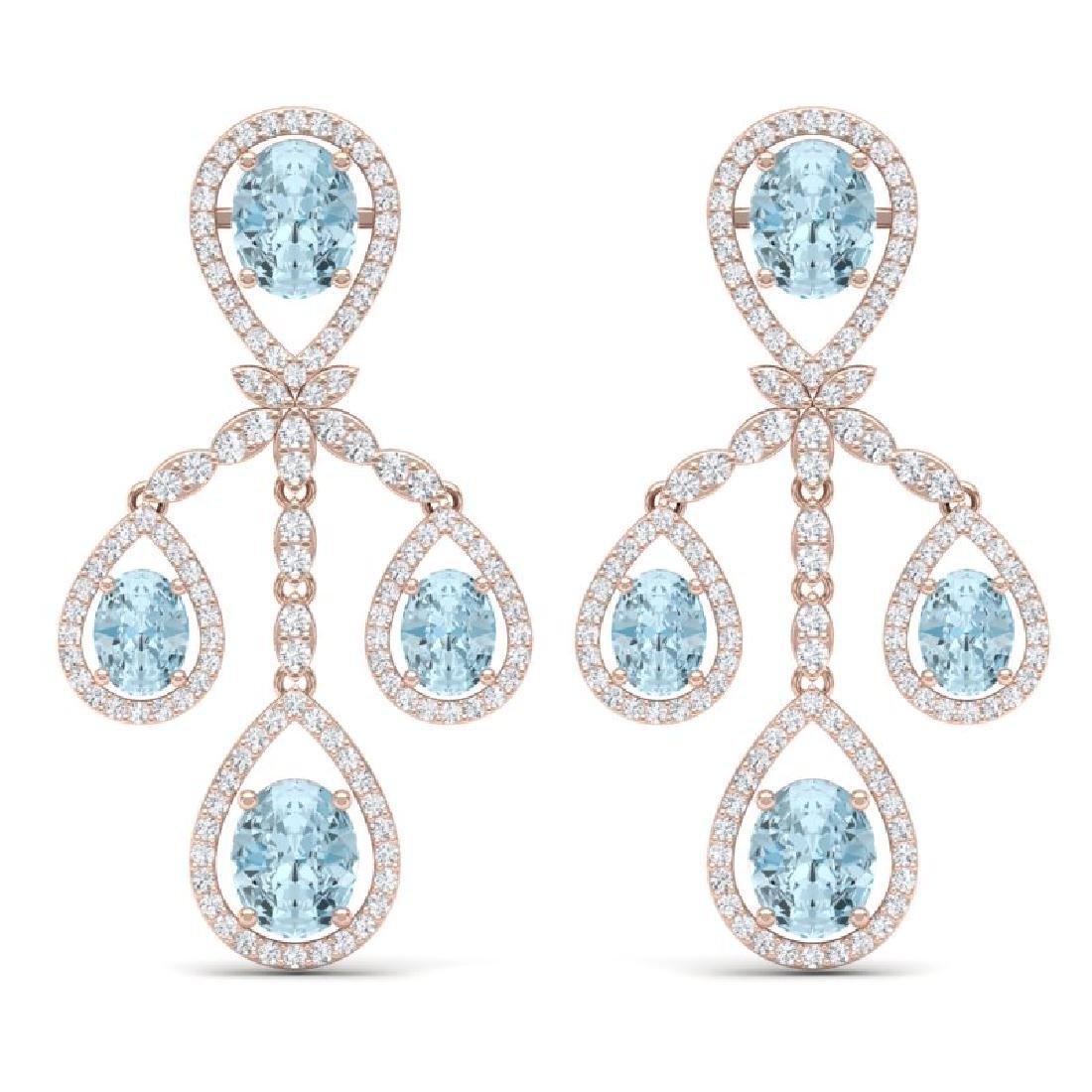 25.94 CTW Royalty Sky Topaz & VS Diamond Earrings 18K