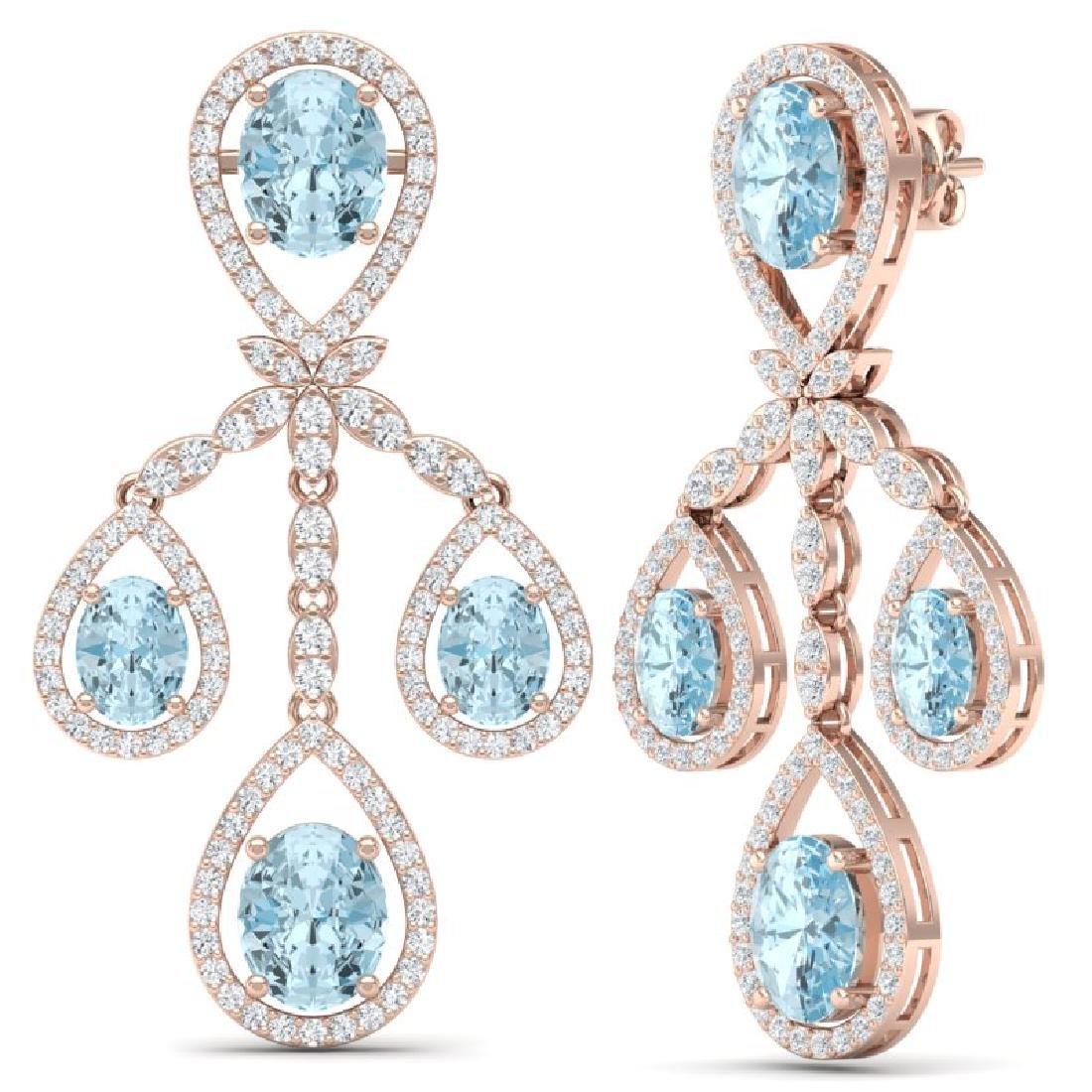 25.94 CTW Royalty Sky Topaz & VS Diamond Earrings 18K - 3