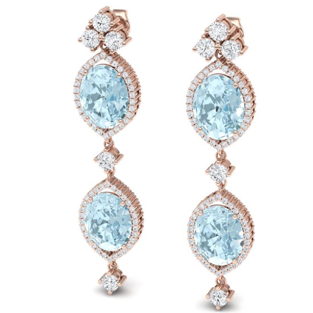 16.41 CTW Royalty Sky Topaz & VS Diamond Earrings 18K