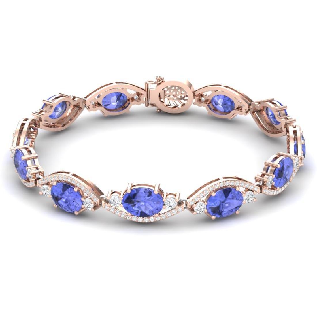 20.5 CTW Royalty Tanzanite & VS Diamond Bracelet 18K - 2
