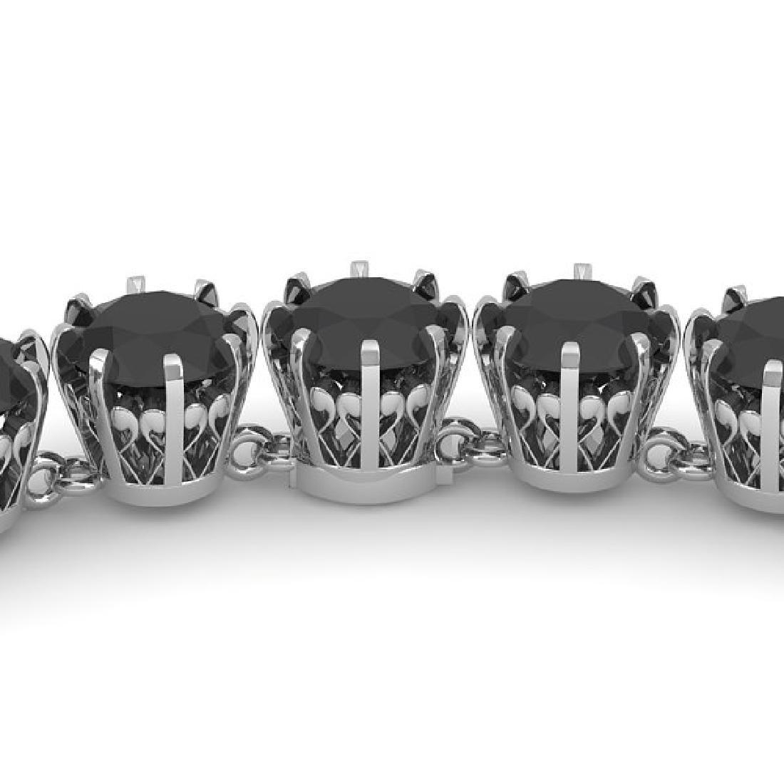34 CTW Certified Black VS Diamond Necklace 18K White