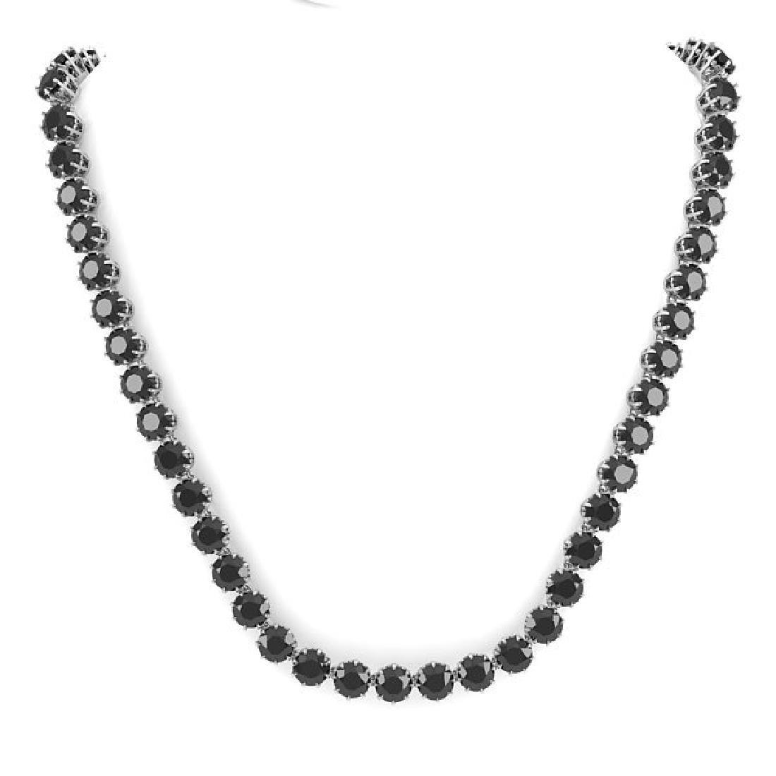 34 CTW Certified Black VS Diamond Necklace 18K White - 3