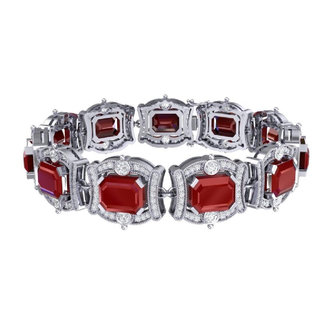 43.87 CTW Royalty Ruby & VS Diamond Bracelet 18K White - 3