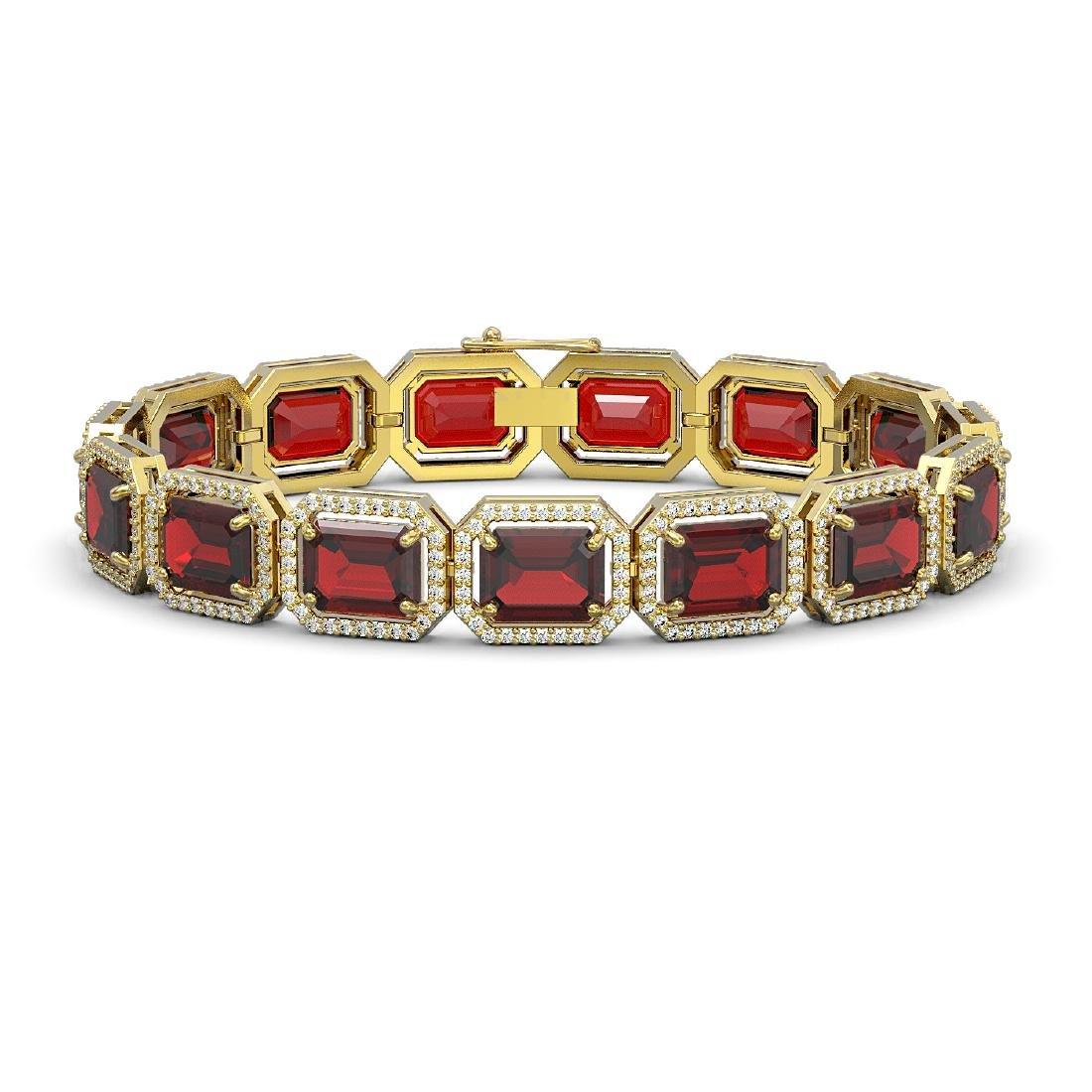 33.41 CTW Garnet & Diamond Halo Bracelet 10K Yellow