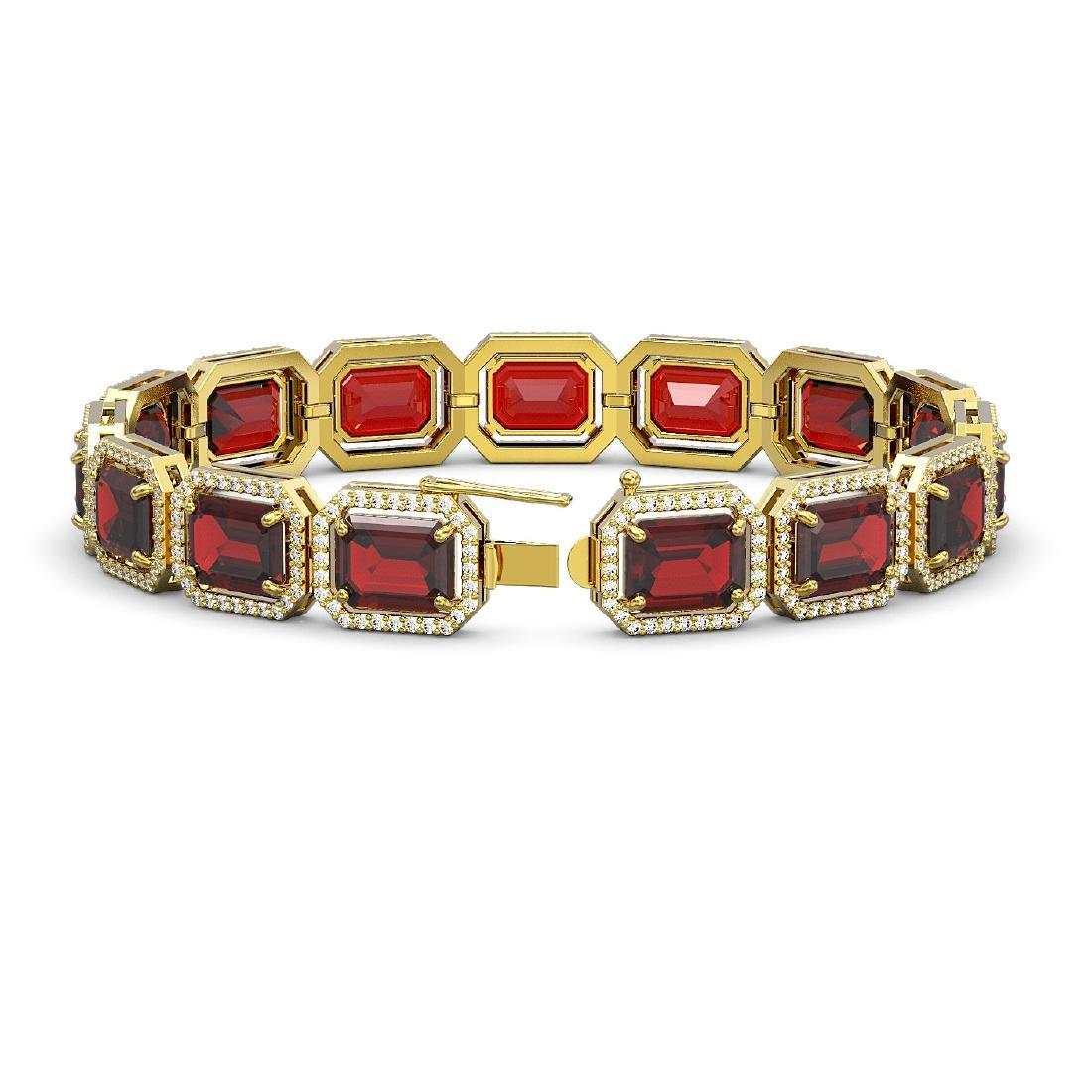 33.41 CTW Garnet & Diamond Halo Bracelet 10K Yellow - 2
