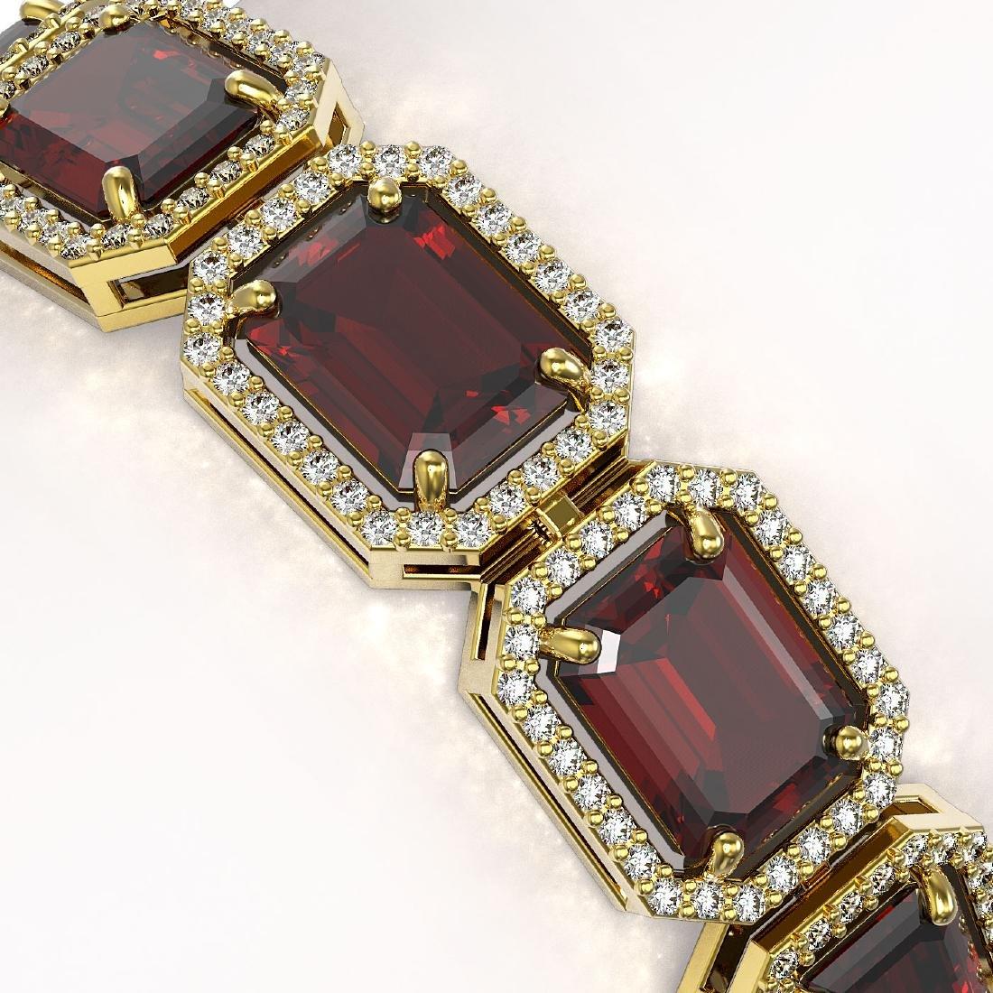 33.41 CTW Garnet & Diamond Halo Bracelet 10K Yellow - 3