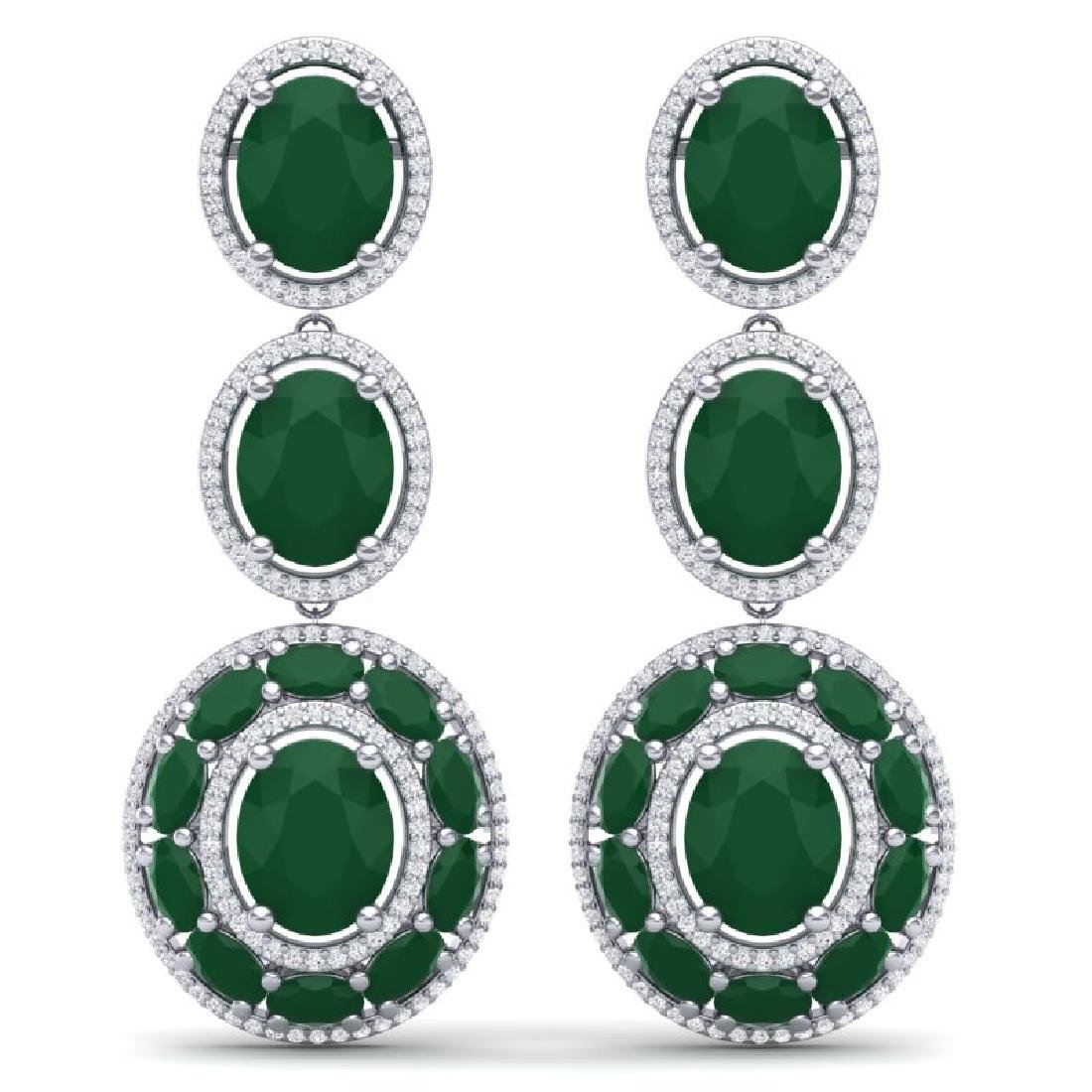 32.84 CTW Royalty Emerald & VS Diamond Earrings 18K