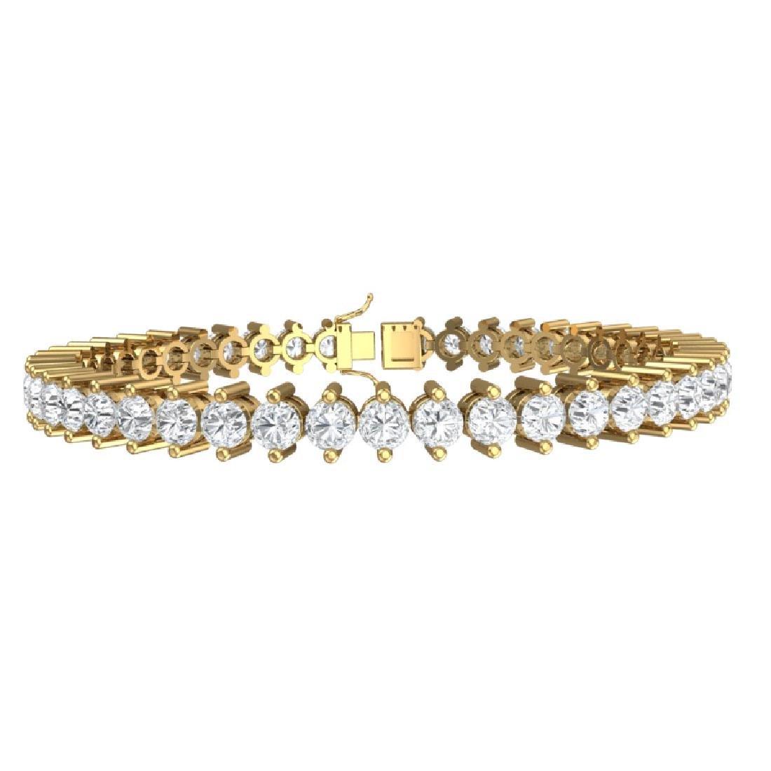 10 CTW Certified VS/SI Diamond Bracelet 18K Yellow Gold - 3
