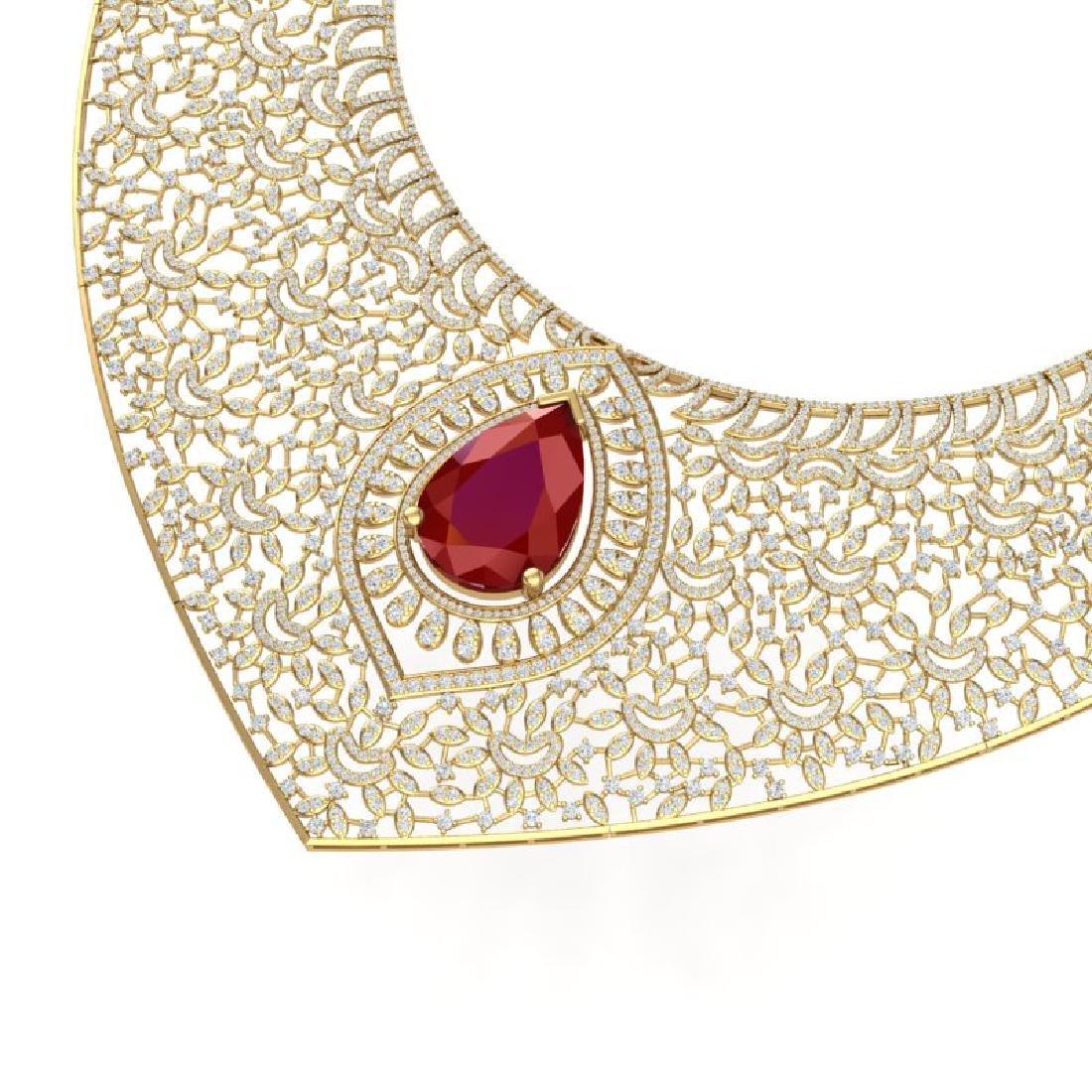 63.93 CTW Royalty Ruby & VS Diamond Necklace 18K Yellow