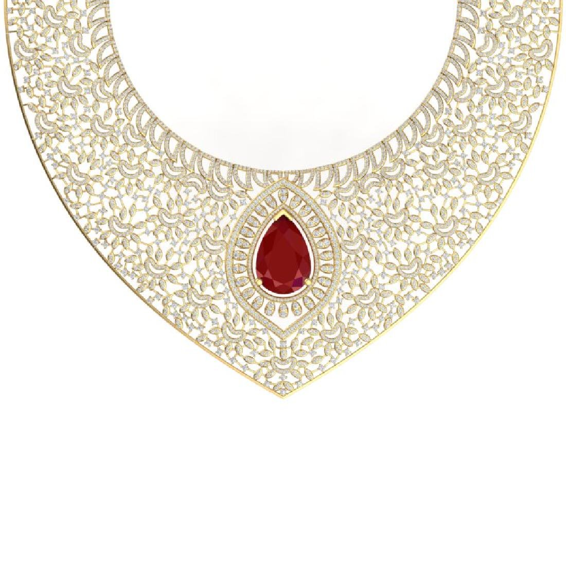 63.93 CTW Royalty Ruby & VS Diamond Necklace 18K Yellow - 2