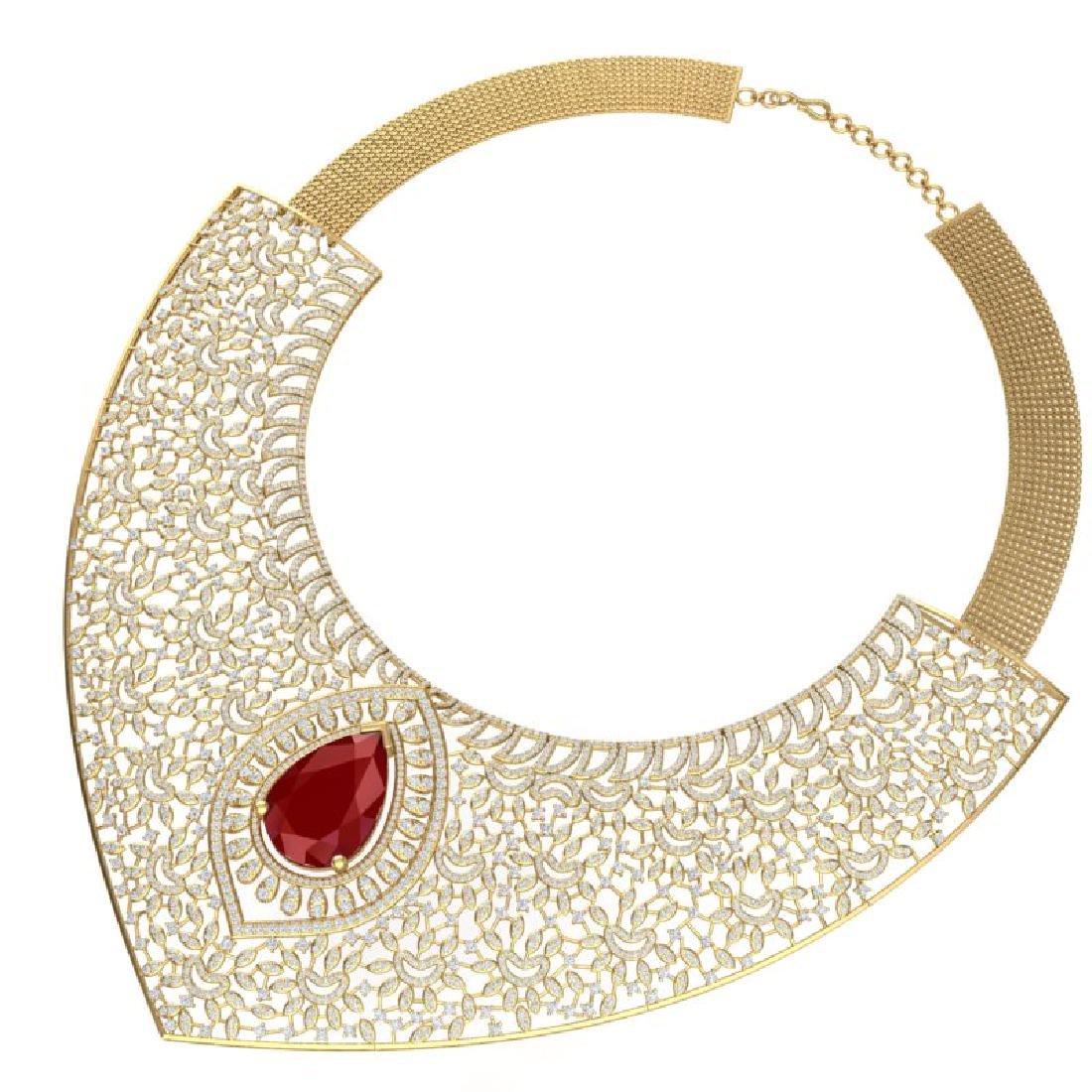 63.93 CTW Royalty Ruby & VS Diamond Necklace 18K Yellow - 3