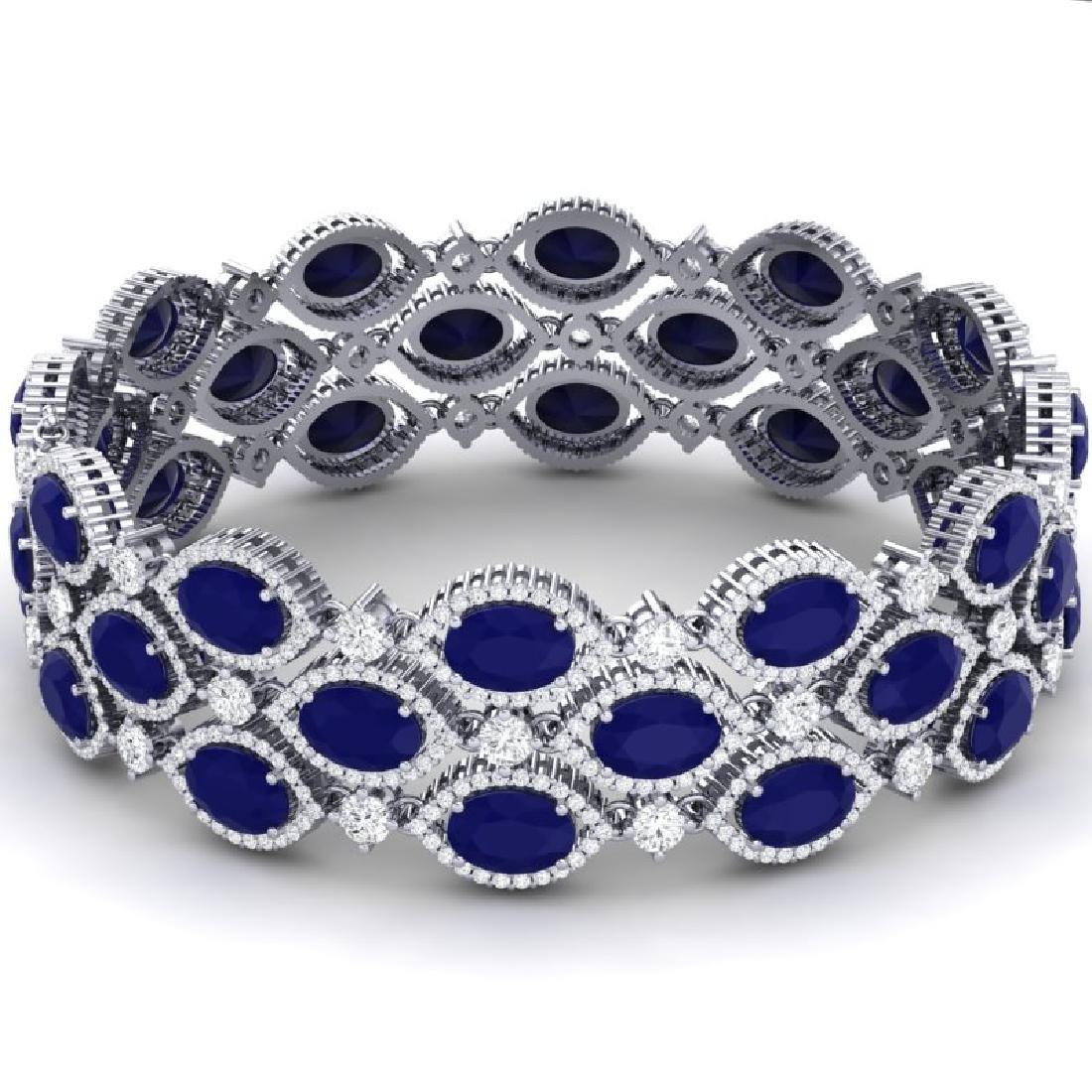47.84 CTW Royalty Sapphire & VS Diamond Bracelet 18K - 2