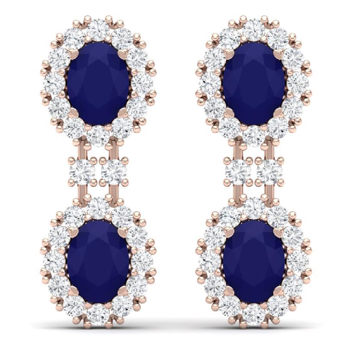 8.98 CTW Royalty Sapphire & VS Diamond Earrings 18K