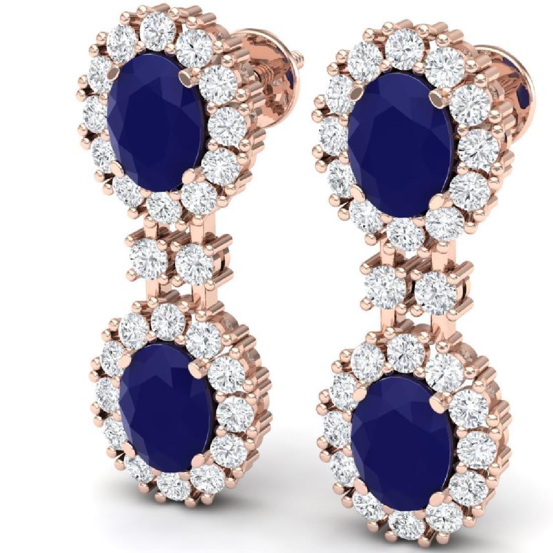 8.98 CTW Royalty Sapphire & VS Diamond Earrings 18K - 2