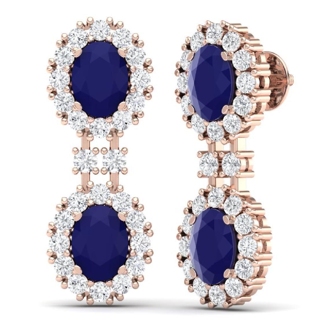 8.98 CTW Royalty Sapphire & VS Diamond Earrings 18K - 3