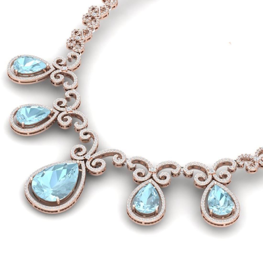 40.45 CTW Royalty Sky Topaz & VS Diamond Necklace 18K - 2