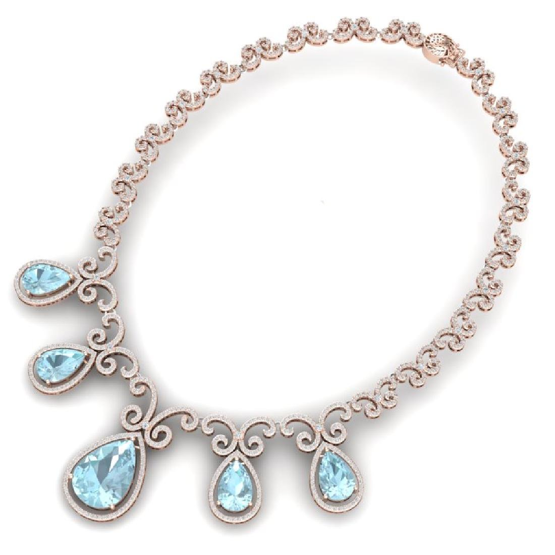 40.45 CTW Royalty Sky Topaz & VS Diamond Necklace 18K - 3