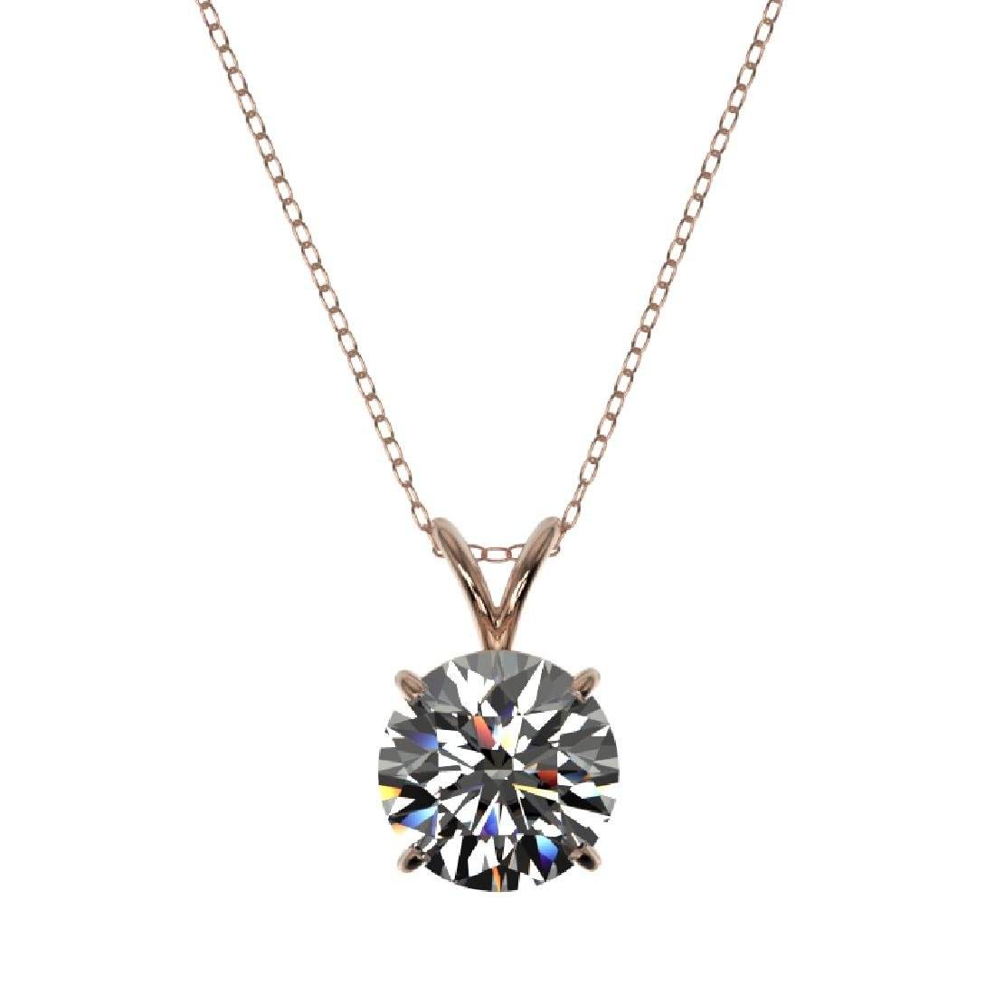 2 CTW Certified G-SI Diamond Bridal Necklace 10K Rose - 3
