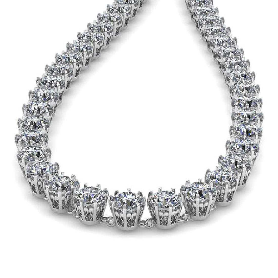 30 CTW SI Certified Diamond Necklace 18K White Gold - 2