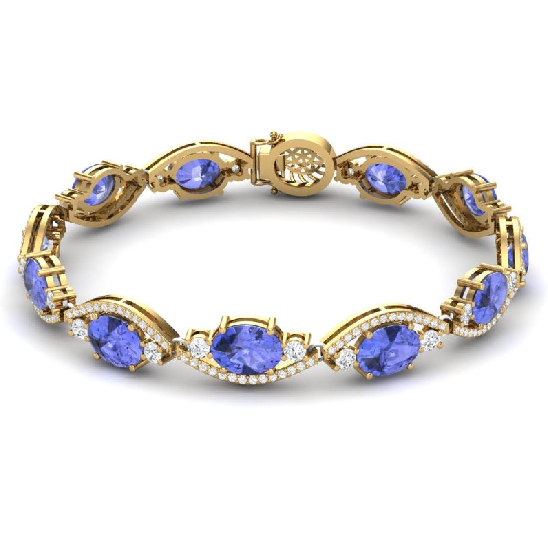 20.5 CTW Royalty Tanzanite & VS Diamond Bracelet 18K - 3